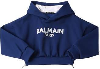 Balmain Cropped Cotton Sweatshirt Hoodie