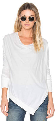 Bobi Light Weight Jersey Cowl Neck Long Sleeve Top in White $52 thestylecure.com