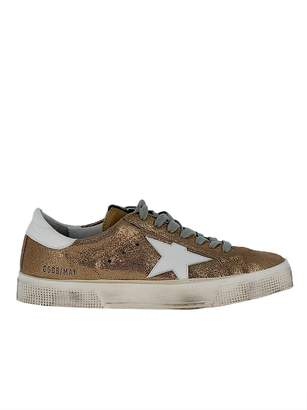 Golden Goose Gold Leather Sneakers