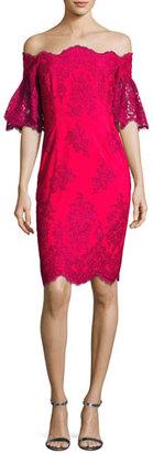 Badgley Mischka Off-the-Shoulder Lace Sheath Dress, Fuchsia $615 thestylecure.com