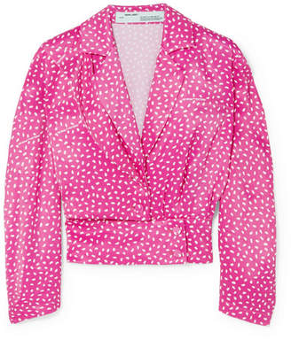 Off-White Printed Satin Blouse - Bright pink