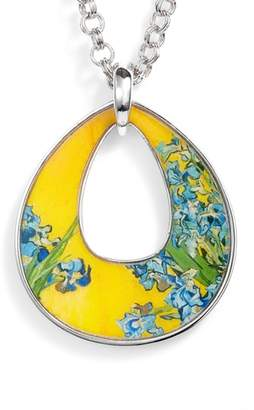 ERWIN PEARL Silvertone Irises Open Teardrop Pendant Necklace