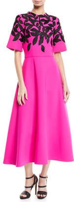 Oscar de la Renta Leaf-Motif Embroidered Long Day Dress