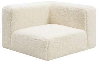 Pottery Barn Teen Cushy Lounge Corner Chair, Ivory Sherpa Faux-Fur, IDS