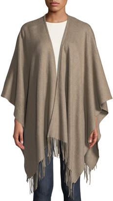 Neiman Marcus Fringe-Hem Wool Ruana Shawl
