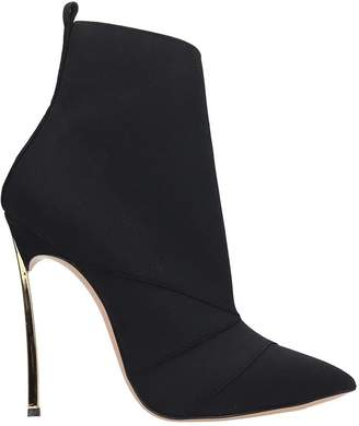 Casadei Blade Runway High Heels Ankle Boots In Black Tech/synthetic