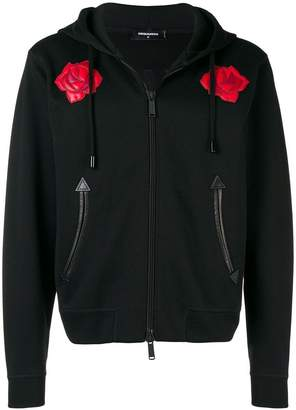 DSQUARED2 leather rose-embroidered hoodie