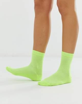 2953aaf2edb Asos Design DESIGN neon ribbed ankle socks