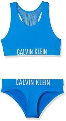 Calvin Klein Girl's Bralette Bikini Set Swimwear (Electric Blue Lemonade 413), (Size: 4-5)