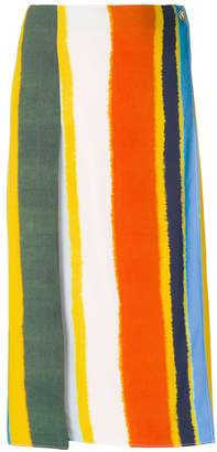 Tory Burch striped wrap front skirt