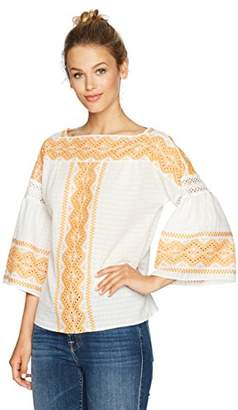 Ella Moon Women's Cecile 3/4 Bell Sleeve Embroidered Cotton Check Top