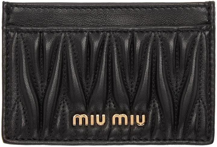 Miu MiuMiu Miu Black Matelassé Cardholder