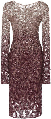 Pamella Roland Ombré Crystal And Sequin Embellished Mini Dress