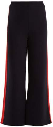 Stella Mccartney - Wide Leg Striped Sided Cotton Track Pants - Womens - Navy