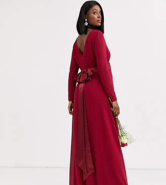 Mulberry Tfnc Maternity TFNC Maternity Bridesmaid long sleeve maxi dress with satin bow back in