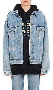 Balenciaga Women's Logo-Print Denim Jacket - Blue