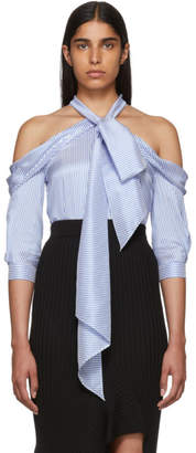 Erdem Blue and White Silk Striped Blouse
