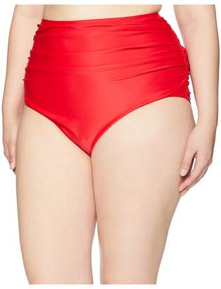 Unique Vintage Plus Size Ruched Georgiana High-Waist Bottom Women's Swimwear