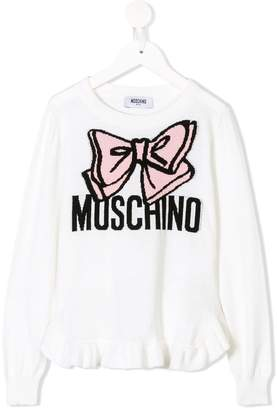 Moschino Kids bow logo intarsia knit jumper