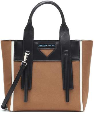 Prada Ouverture Small leather-trimmed tote