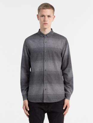 Calvin Klein slim fit ombre stripe flannel shirt
