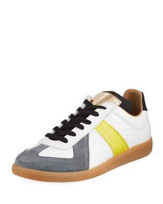 Maison Margiela Replica Men's Contrast-Trim Leather & Suede Low-Top Sneakers