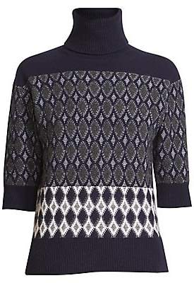 Chloé Women's Argyle Jacquard Turtleneck Sweater
