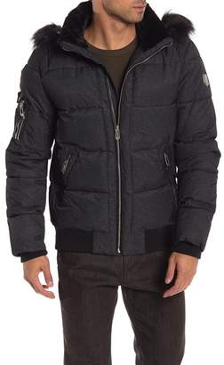 NOIZE Clark Quilted Water Resistant Faux Fur Trim Hooded Jacket