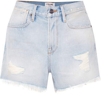 Frame Le Stevie Distressed High-rise Denim Shorts - Light denim