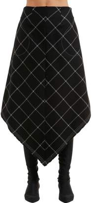 Vejas Phantom Pocket Windowpane Wool Skirt
