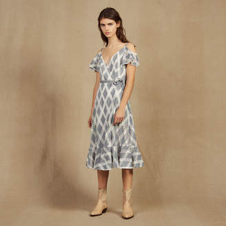 Sandro Lace Dress With Ruffles On The Shoulders