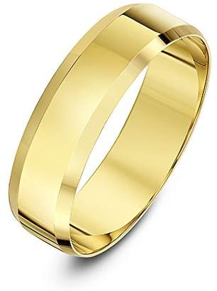 Theia Unisex 9ct Yellow Gold Heavy Flat Shape Bevelled Edge Polished 4mm Wedding Ring - Size J