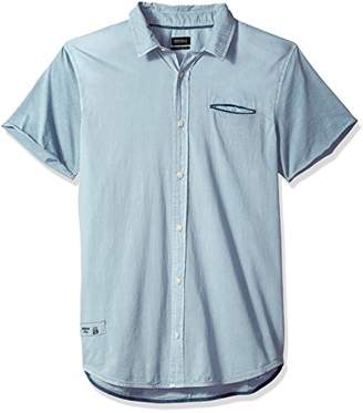 Buffalo David Bitton Men's Siminika Short Sleeve Stretch Chambray Button Down Shirt