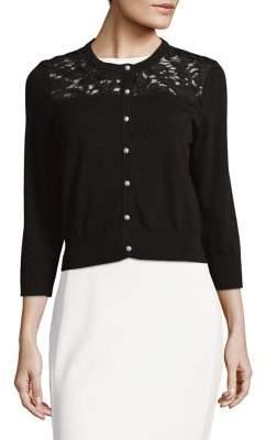 Karl Lagerfeld Paris Lace Quarter-Sleeve Cardigan
