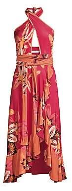 PatBO Women's Jersey Floral Halter Wrap Dress