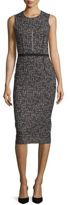 Michael Kors Sleeveless Tweed Zip-Front Sheath Dress, Black $1,595 thestylecure.com