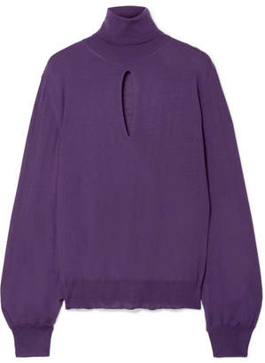 Tom Ford Cutout Cashmere And Silk-blend Turtleneck Sweater - Purple