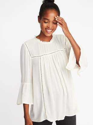 Old Navy Ruffle-Neck Crinkle-Crepe Swing Blouse for Women