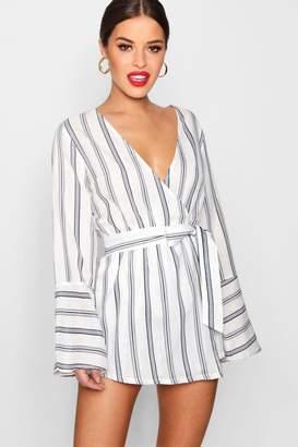 boohoo Petite Stripe Woven Wrap Playsuit
