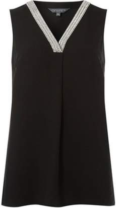 Dorothy Perkins Womens **Tall Black Embellished Neck Top
