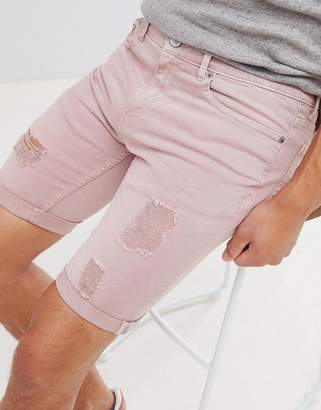 Burton Menswear Denim Shorts In Pink