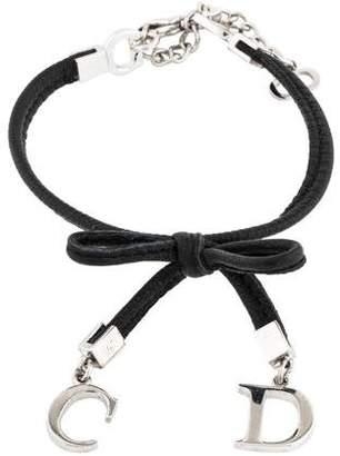 Christian Dior Leather Bow Bracelet
