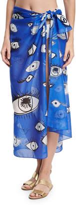 Anna Coroneo Cotton Voile Eye Scarf, Blue
