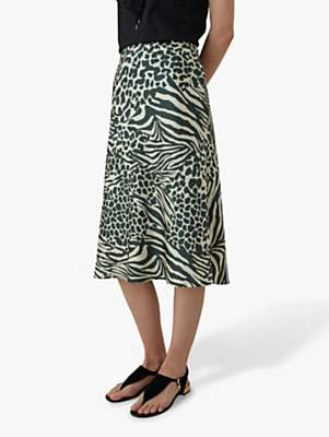 65c4c3f9b49c Karen Millen Animal Print Midi Skirt, Green/Multi