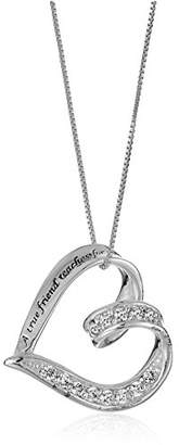 "Sterling Cubic Zirconia Ribbon""A True Friend. Touches Your Heart"" Pendant Necklace"