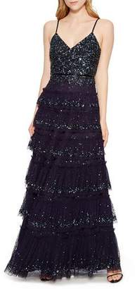 Parker Black Miranda Tiered Sequin Tulle Formal Gown Dress