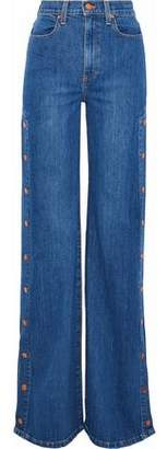 Alice + Olivia Ao.la By Gorgeous Snap-Detailed High-Rise Wide-Leg Jeans