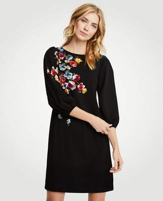 Ann Taylor Tall Winter Floral Puff Sleeve Shift Dress