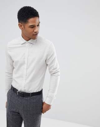 Reiss Slim Shirt In White Melange