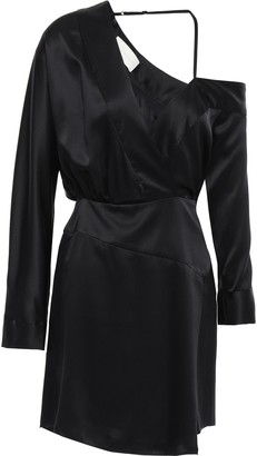 Mason by Michelle Mason Off-the-shoulder Wrap-effect Silk-charmeuse Mini Dress